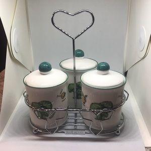 Blue House Green Mushroom Condiment Holder w/tray